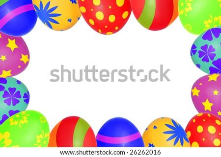 An easter eggs frame - stock photo