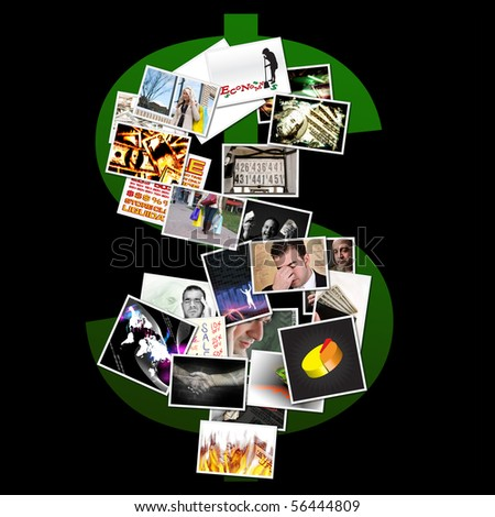 An economic money montage in the shape of a dollar sign symbol. - stock photo