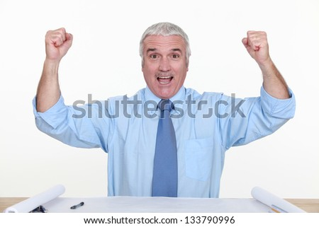 An ecstatic architect. - stock photo