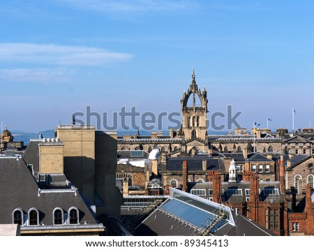 an Edinburgh (Scotland) roofscape, seen from the roof garden/terrace of the National Museum of Scotland.  It shows the crowned spire of St Giles Cathedral, on the Royal Mile. - stock photo