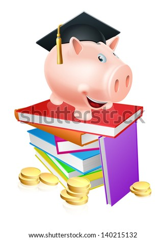 An education provision financial concept of a piggy bank in a mortar board academic cap standing on a stack of books with gold coins.  - stock photo