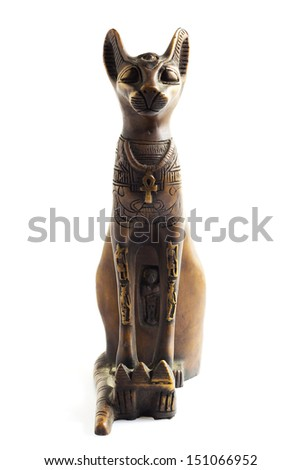 An Egyptian cat with white background - stock photo