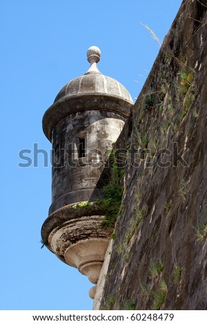 An El Morro fort watch tower located in Old San Juan Puerto Rico. - stock photo