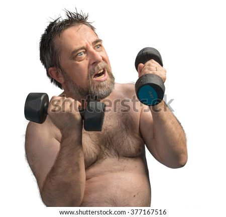 An elderly fat and wet man exercising with dumbbells isolated on white with copyspace - stock photo