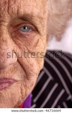 An elderly lady?s face - stock photo