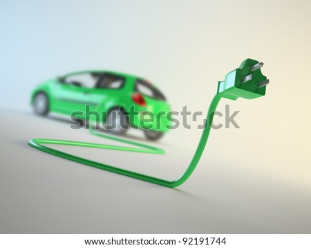 An electric car connected to a plug - EV transport concept - stock photo