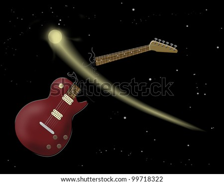 An electric guitar in space hit by a shooting star