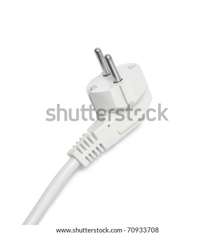An electric plug isolated on white - stock photo