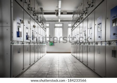 an electric station control room - stock photo