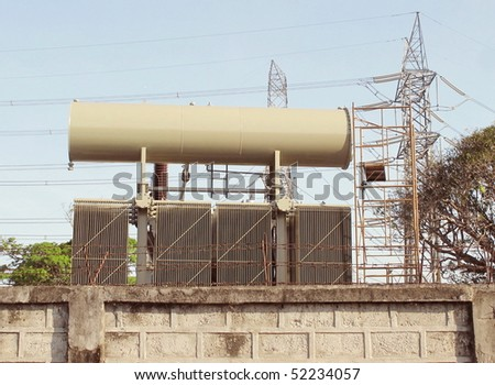 An electric transformer - stock photo