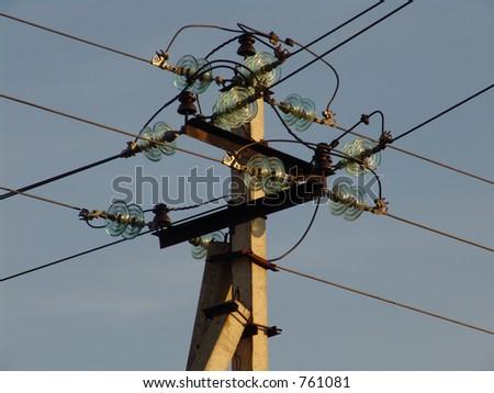 An electrical pylone - stock photo