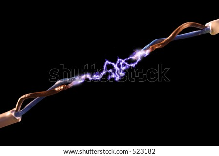 An electrical spark between two wires. - stock photo