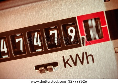 an electricity meter measures the current consumed. save symbolfoto for electricity price and electricity - stock photo