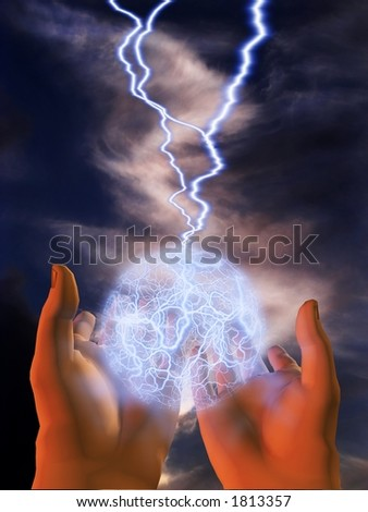 An electrified glowing sphere floats above open hands