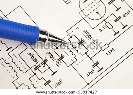 An electronic schematic diagram. Ideal technology background. - stock photo