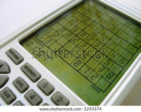 An electronic sudoku game, the latest craze to hit the US in 2006. - stock photo