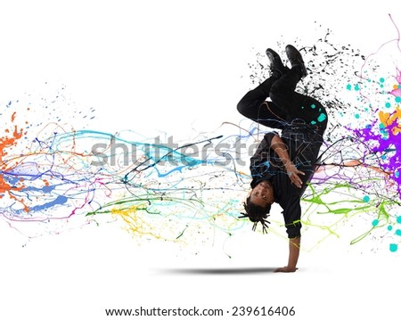 An elegant dancer brazilian man dance capoeira - stock photo