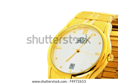 An elegant stylish golden mens wrist watch isolated on a white background