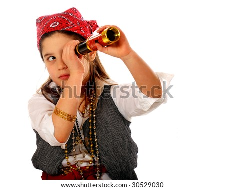 """An elementary """"pirate"""" peering through her spyglass.  Isolated on white. - stock photo"""