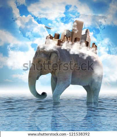 An elephant is carrying a city on its back with clouds in the sky and water on the ground. use it for a metaphor for travel, strength or an advantage concept. - stock photo