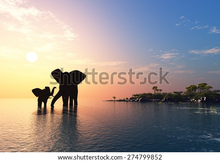 An elephant swims through the water. - stock photo