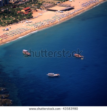 an elevated view of Antalya and the sea - stock photo