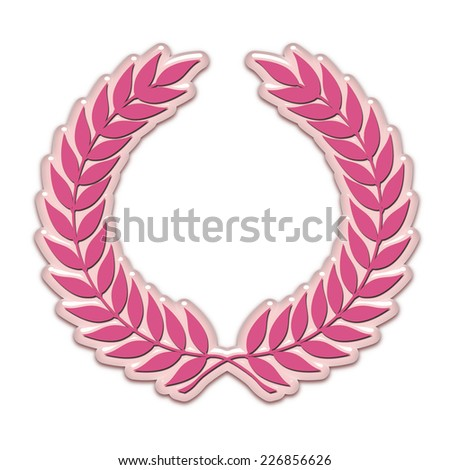 An embossed laurel wreath symbol in pink - stock photo