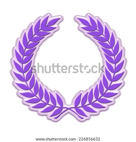 An embossed laurel wreath symbol in purple - stock photo