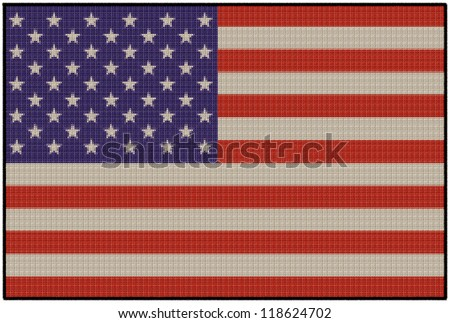 An embroidered patch of the national flag of America. - stock photo