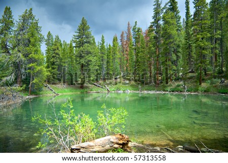 An emerald pond against a stormy sky along a back road in Colorado. - stock photo