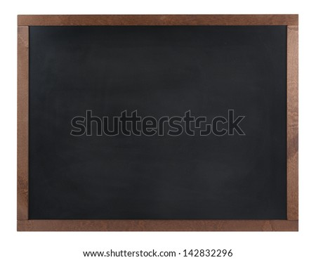 An empty black board (chalk board) isolated on white - stock photo
