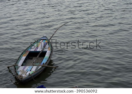 An empty boat in river Ganges in Varanasi, India