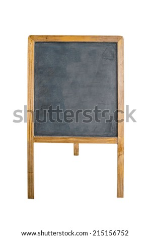 An empty chalk board on tripod over white background