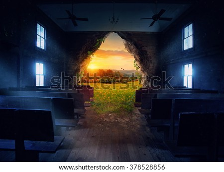 An empty church with an opening to a beautiful landscape - stock photo