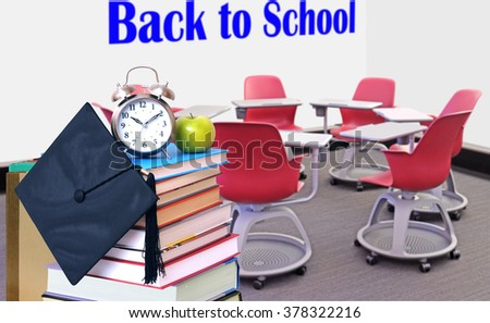 an empty class room for back to school concept - stock photo