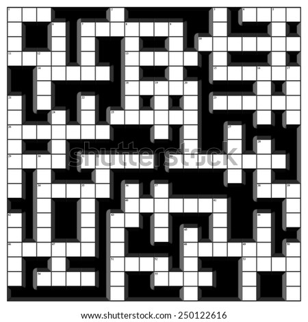 An empty crossword template in 3D effect with clue numbers - stock photo