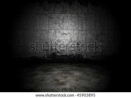 An empty dark dungeon wall. Historical prison wall concept - stock photo