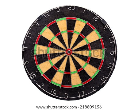 An empty dartboard isolated over a white background - stock photo