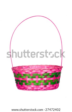 An empty Easter basket isolated on a white background - stock photo