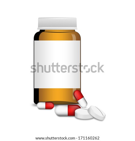An empty glass bottle with capsules and pills , illustration - stock photo