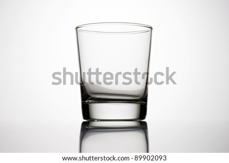 An empty glass on a grey background