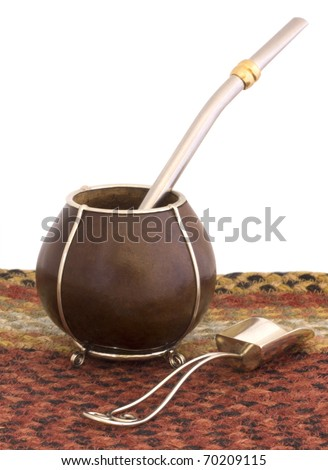 An empty gourd mate cup with a bomba/bombija and spoon from Argentina. - stock photo