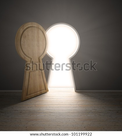 An empty interior with a door shaped like a keyhole - stock photo