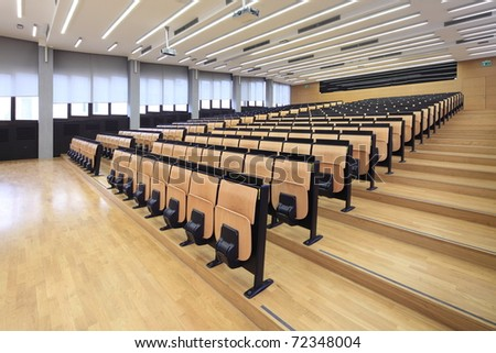 An empty lecture hall in a University - stock photo
