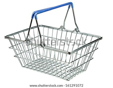 An empty metal shopping basket on a white background - stock photo
