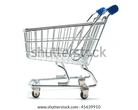 An empty miniature shopping cart viewed from the side - stock photo