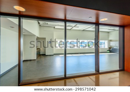 An empty office presentation room work place. - stock photo