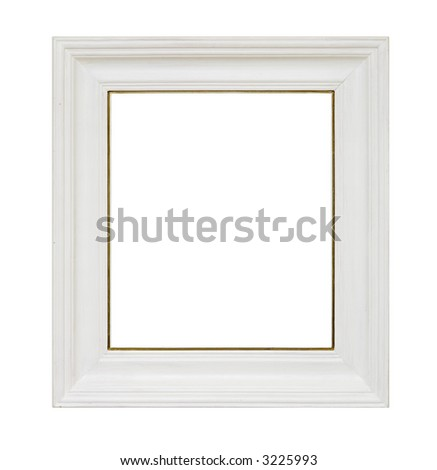 An empty picture frame isolated on white - stock photo