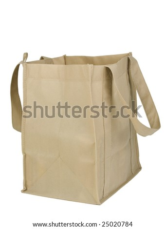 An empty recyclable grocery bag with clipping path. Isolated on white background. - stock photo