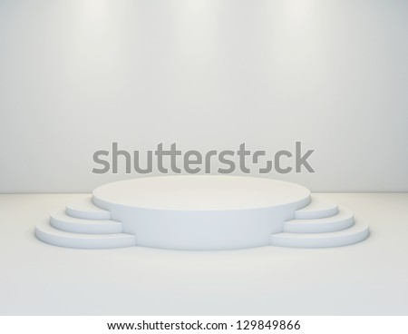 An empty round stage with 2 side step - stock photo